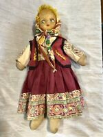 Vintage 1940s Swedish Girl Pheasant Cloth Doll Toy Wellings?