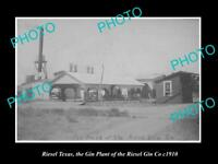 OLD LARGE HISTORIC PHOTO OF RIESEL TEXAS, THE RIESEL GIN Co FACTORY c1910