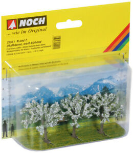 Noch N/Z Scale 25511 Blooming White Flower Fruit Trees 3-Pack *NEW *$0 SHIPPING