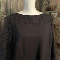Talbots Women's Sz 22 WP Black Lace Sleeve Stretchy Dress NWT Petite Plus size