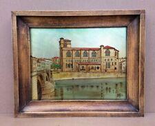 Ancien tableau PEINTURE SOUS VERRE signé P. ALIX 1762-1817 EGLISE ROMANS / ISERE