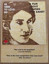 TOWNES VAN ZANDT Rare 2005 PROMO POSTER of Be here CD 18x24 LUCINDA WILLIAMS