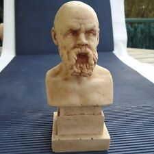 Buste SOCRATES Sur Socle Pierre Mélangée Beaux Reliefs 16 x 7 x 6 Cm - 595 Grs