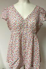 Denim & Supply Ralph Lauren Womens Pink Floral Button Up Short Sleeve Top Size M