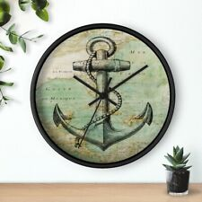 Antique Nautical Map with Anchor Wall clock