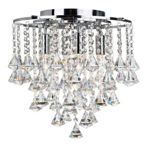 Searchlight Dorchester 4 Lights Crystal Flush Ceiling Fitting Chandelier Light