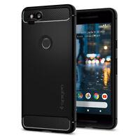 Spigen® Google Pixel 2 [Rugged Armor] Black Shockproof Carbon Fiber TPU Case