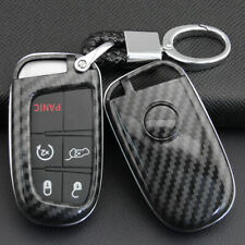 For Jeep Dodge Carbon Fiber Hard Key Shell Chain Ring Fob Cover Case Keychain