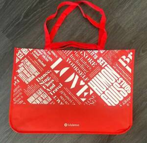 """NEW LULULEMON EXTRA LARGE XL RED REUSABLE SHOPPING DOUBLE HANDLE TOTE BAG 21"""""""