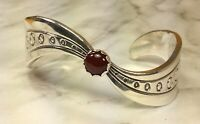 925 Sterling Silver Carnelian Gemstone Cuff Bracelet Fine Jewelry Heavy 47.9 Gr!