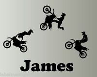 XL Dirt Bike Custom Wall Sticker Personalised ANY NAME Motorbike Motocross Stunt