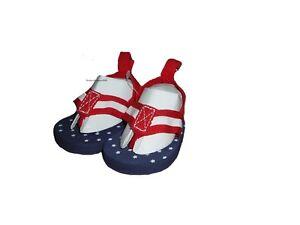 Carter's Sandals Infant Girls Flip Flop Size Newborn U.S.A. Flag