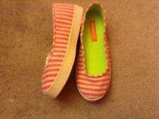 Rocket Dog Island Stripe Cotton pink bright White Slip On Flats sz 9 euc lkn