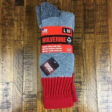 Wolverine Thermal Wool Boot Socks Two Pairs Merino Gray Insulating Size Large