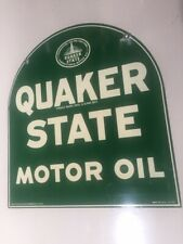 Original Circa 1952 Quaker State Motor Oil 2-Sided Steel Sign 26x29 Gas Station