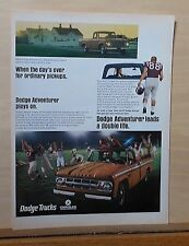 1967 magazine ad for Dodge - Adventurer pickup truck and football players