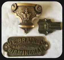1800's Antique WE Brain & Co Safe Brass Sliding Key Hole Escutcheon & Plate Sign