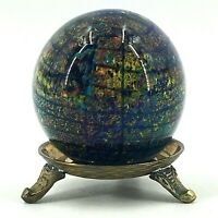 Vintage Cobalt Blue Confetti Art Glass Globe Paperweight Brass Display Stand