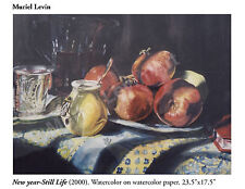 "Beautiful Art ""New Year Still Life"" 18""x24"" Rosh Hashana Jewish theme watercolor"