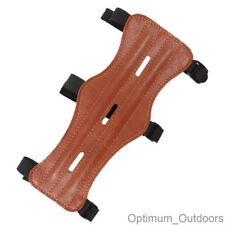 3 Strap Archery Arm Guard Armguard Wrist Protector Brown PU Leather Look UK