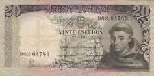 BILLET BANQUE PORTUGAL 20 ESCUDOS 1964 SANTO ANTONIO état voir scan 789