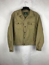 Vinatge Orvis SAMPLE Trucker Jacket Duck Canvas Leather Accents Sz L RARE
