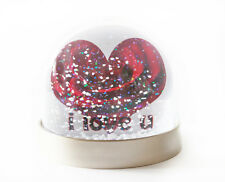 Valentines Day Snow Globe, Heart Shaped Red Rose, ' i love u' Text. Snow Shaker