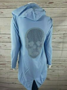 Damen Jacke Überwurf Totenkopf Baby Blau One Size Neu Trend 38-40 Pullover