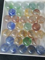 "Box of 35 Vitro Agate Caged Horseshoe Cats-Eye Shooters 1"" Vintage Marbles"