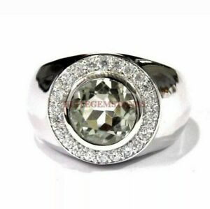 Natural Round Cut Green Amethyst with 925 Sterling Silver Ring for Men's EG137
