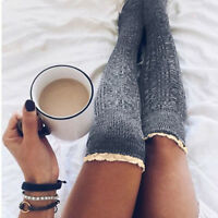 Women Winter Cable Knit Over knee Long Boot Thigh-High Warm Socks Leggings New
