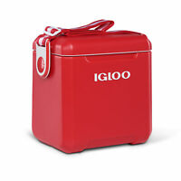 Igloo Tagalong 11 Quart Insulated Ice Drink Cooler with Body Shoulder Strap, Red
