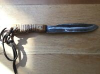 Vintage True Edge Ontario Bush Knife Made in USA Carbon Steel Hickory Handle