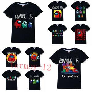 Kids 100% Cotton Among Us Game T-shirt Impostor Crewmate Gaming Top Xmas Gifts