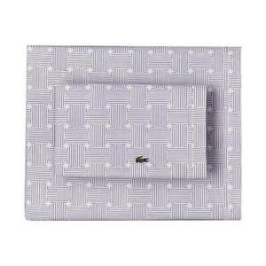 4-Pc LACOSTE Pale Lavender GEO COMPASS Lines Percale King Sheet Set NIP DISC