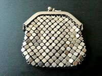 Vintage Silver Metal Mesh Coin Purse 70s Change Wallet Purse - made in USSR