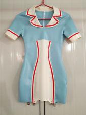 Latex Rubber Nurse Skirt Light Blue and White Sexy Short Dress Skirt Size S-XXL