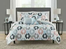 Mainstay Queen Coordinated Marble Diamond 10-Piece Bed in a Bag Bedding Set, New