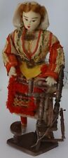 Vintage doll in Serbian folk costume with spinning wheel. 1950    Free shipping.