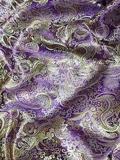 Purple & Gold Paisley Metallic Brocade Fabric Material Waistcoat Jacket Suit BTY