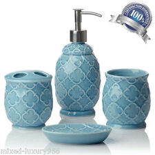 Turquoise Blue Accessory Bathroom Set Soap Home Decor Ceramic Moroccan Trellis