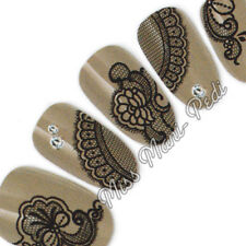 Nail Art Water Transfers Decals Black Lace Lacey Mehendi Flowers Paisley S042