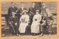 Real Photo Postcard RPPC - Men & Women Christian Church Orchestra Rushville IN