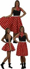 Rock N Roll Polka Dot Skirt & Scarf Set 1950s & 1960s Womens Fancy Dress