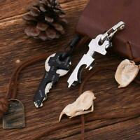 Keychain Camping Hiking 8 in 1 Outdoor Survival Gear opener Bottle Tool Mul I7C1