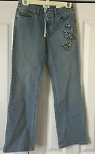 Ann Taylor LOFT Petite Stretch Boot Cut Light Blue Jeans w/ Embroidery Size 0