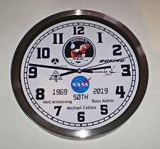Apollo 11 First Moon Landing 50th Anniversary Clock, Armstrong, Aldrin, Collins.