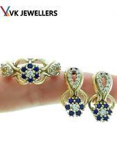 LADIES TURKISH JEWELRY HANDMADE 925 SILVER SAPPHIRE SIZE 9 RING EARRINGS R2669