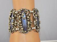 "Vintage Selro Ornate Silver Tone Purple Marble Lucite Faux Pearl Bracelet 2 1/4"""