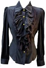 Black silk Ruffle Blouse Shirt-12 victorian steampunk pirate work larp lolita